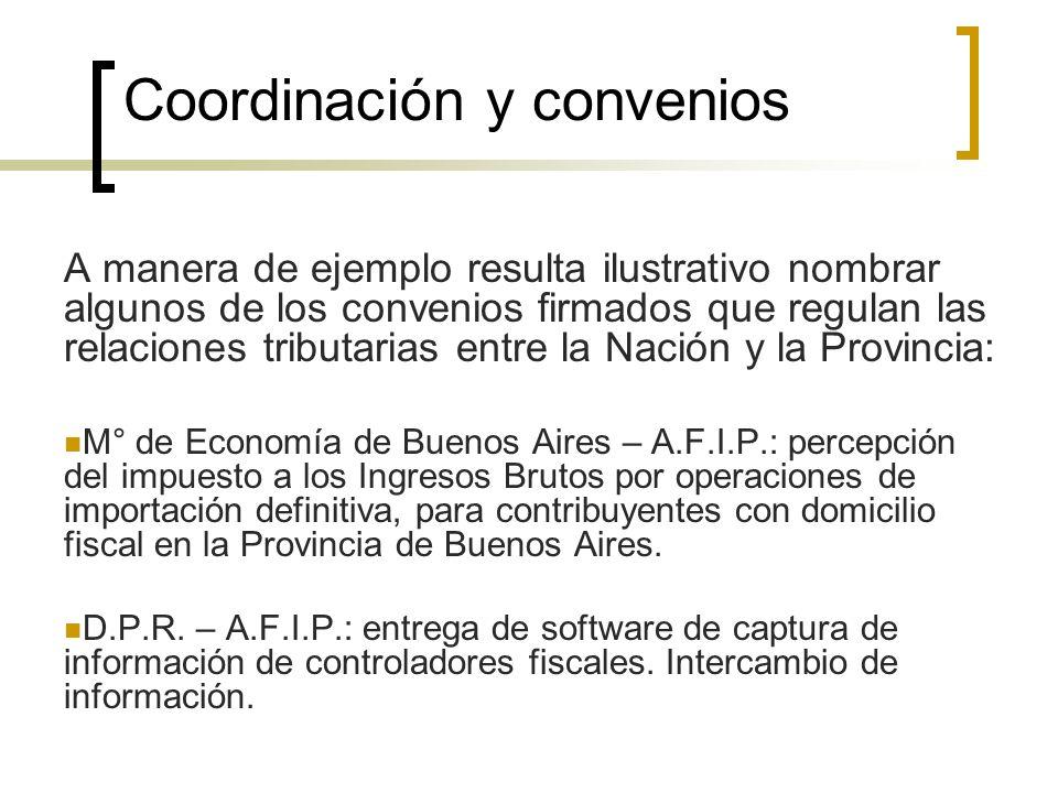 Coordinación y convenios A manera de ejemplo resulta ilustrativo nombrar algunos de los convenios firmados que regulan las relaciones tributarias entr
