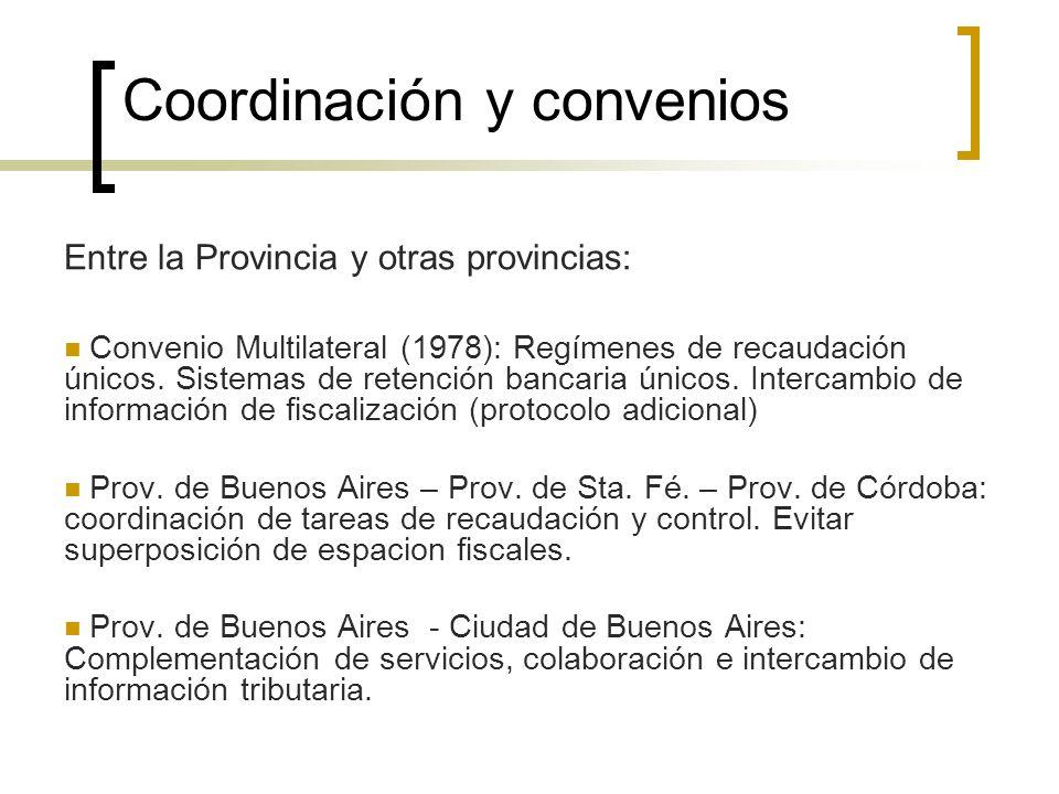 Coordinación y convenios Entre la Provincia y otras provincias: Convenio Multilateral (1978): Regímenes de recaudación únicos. Sistemas de retención b