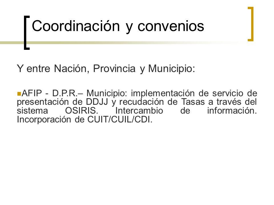 Coordinación y convenios Y entre Nación, Provincia y Municipio: AFIP - D.P.R.– Municipio: implementación de servicio de presentación de DDJJ y recudac