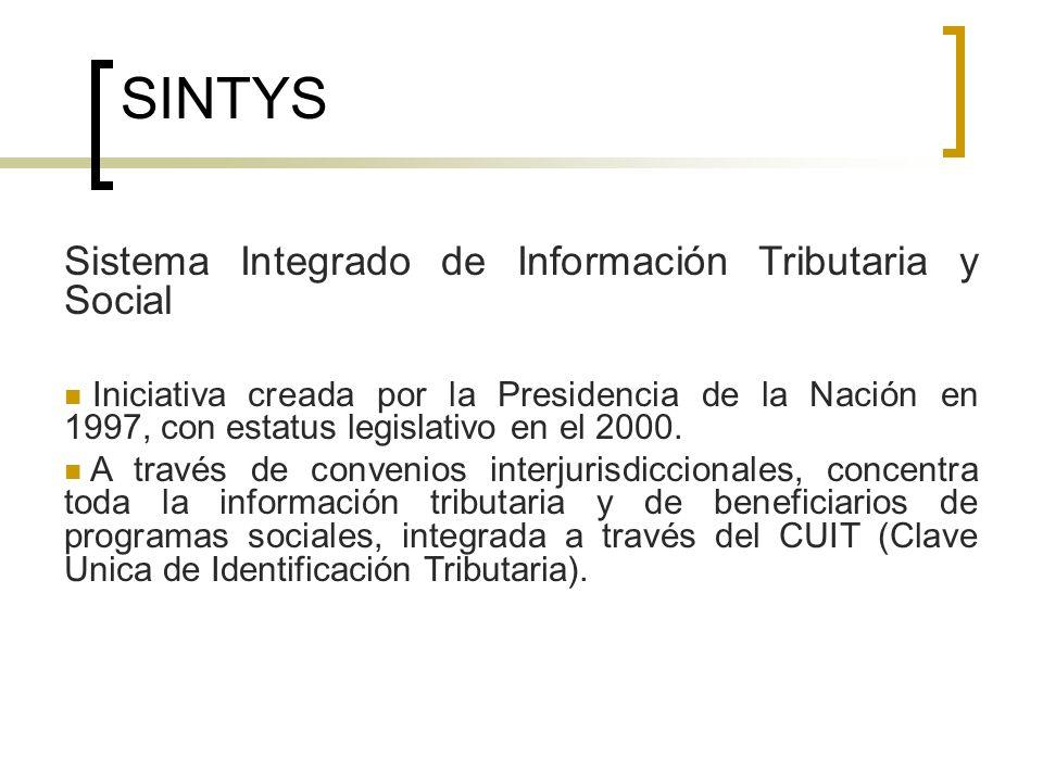 SINTYS Sistema Integrado de Información Tributaria y Social Iniciativa creada por la Presidencia de la Nación en 1997, con estatus legislativo en el 2