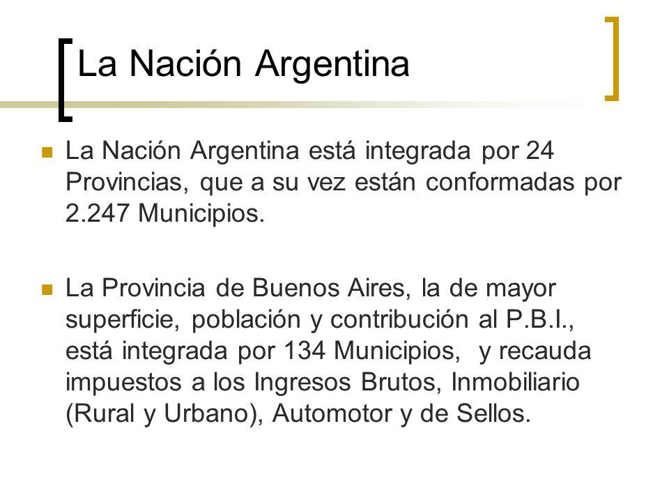La Nación Argentina La Nación Argentina está integrada por 24 Provincias, que a su vez están conformadas por 2.247 Municipios. La Provincia de Buenos