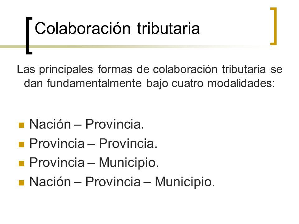 Colaboración tributaria Nación – Provincia. Provincia – Provincia. Provincia – Municipio. Nación – Provincia – Municipio. Las principales formas de co