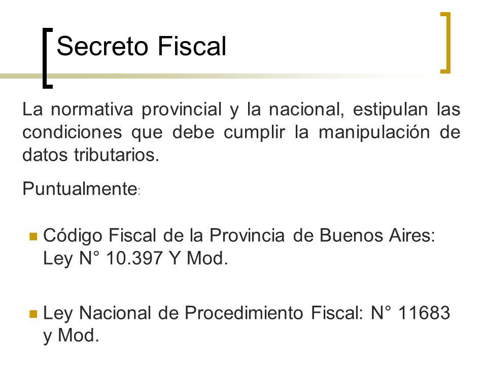 Secreto Fiscal Código Fiscal de la Provincia de Buenos Aires: Ley N° 10.397 Y Mod. Ley Nacional de Procedimiento Fiscal: N° 11683 y Mod. La normativa