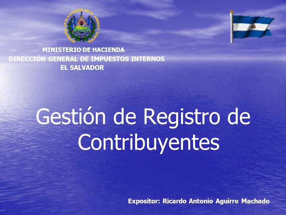 Gestión de Registro de Contribuyentes Expositor: Ricardo Antonio Aguirre Machado DIRECCIÓN GENERAL DE IMPUESTOS INTERNOS MINISTERIO DE HACIENDA EL SAL
