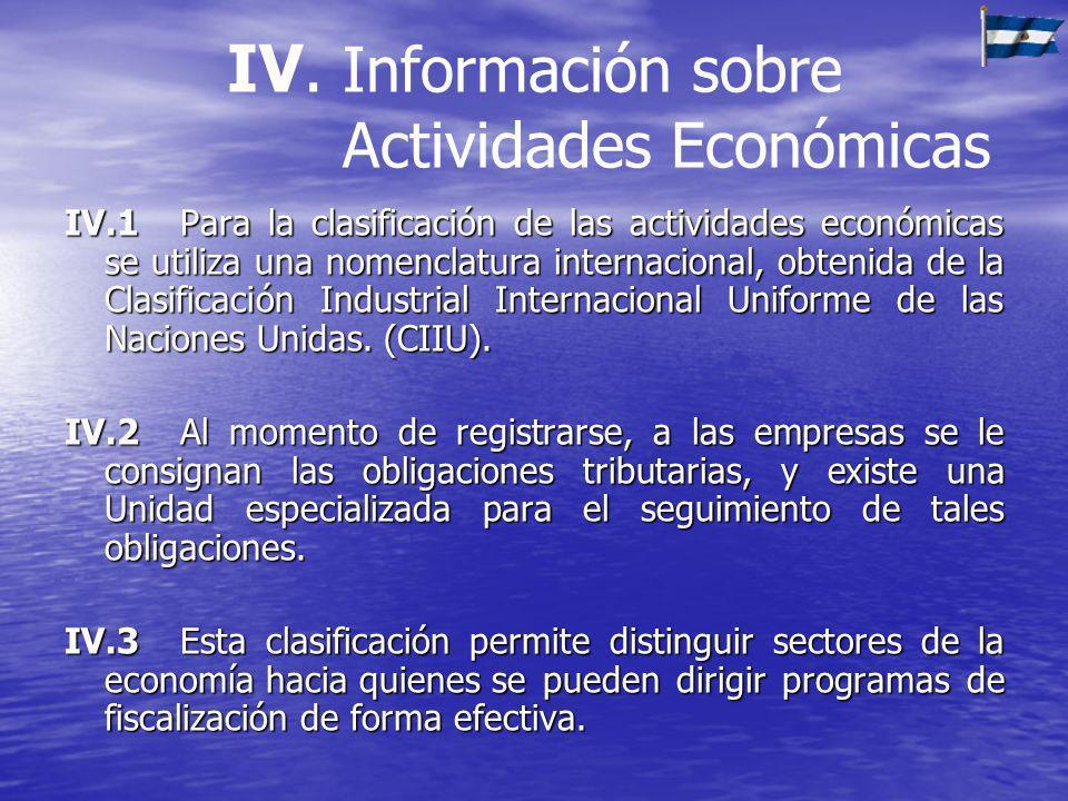 IV. Información sobre Actividades Económicas IV.1Para la clasificación de las actividades económicas se utiliza una nomenclatura internacional, obteni