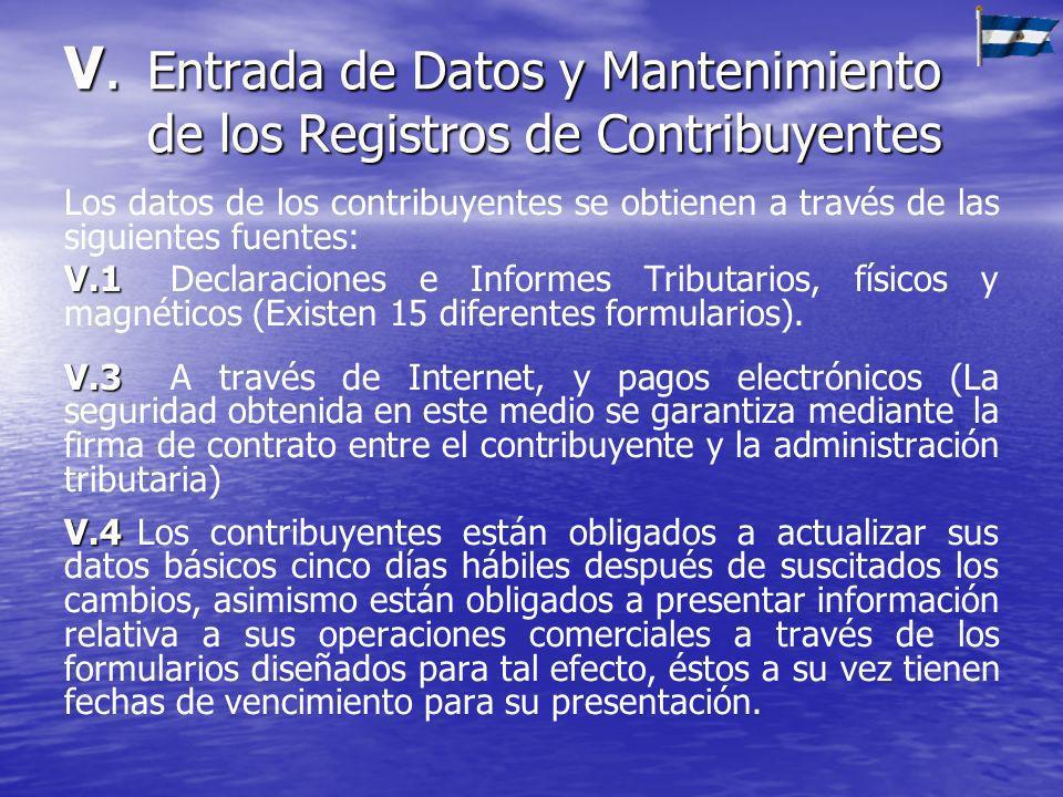 V.Entrada de Datos y Mantenimiento de los Registros de Contribuyentes Los datos de los contribuyentes se obtienen a través de las siguientes fuentes: