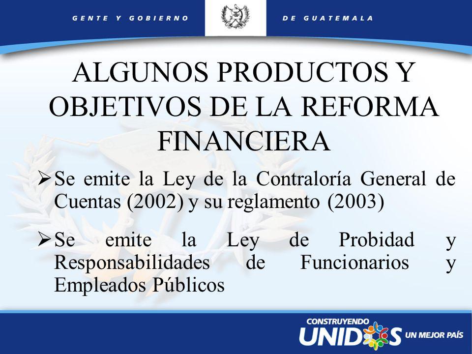 ALGUNOS PRODUCTOS Y OBJETIVOS DE LA REFORMA FINANCIERA Se emite la Ley de la Contraloría General de Cuentas (2002) y su reglamento (2003) Se emite la