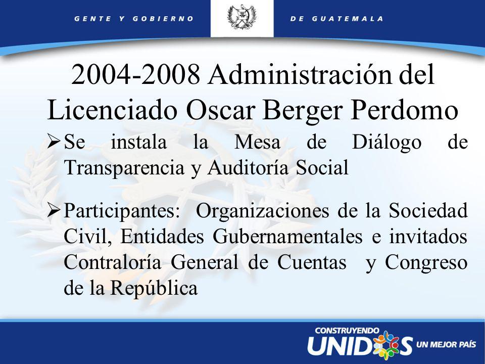 2004-2008 Administración del Licenciado Oscar Berger Perdomo Se instala la Mesa de Diálogo de Transparencia y Auditoría Social Participantes: Organiza