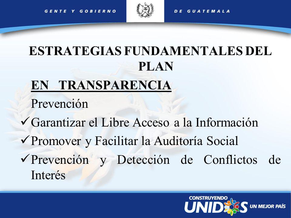 ESTRATEGIAS FUNDAMENTALES DEL PLAN EN TRANSPARENCIA Prevención Garantizar el Libre Acceso a la Información Promover y Facilitar la Auditoría Social Pr