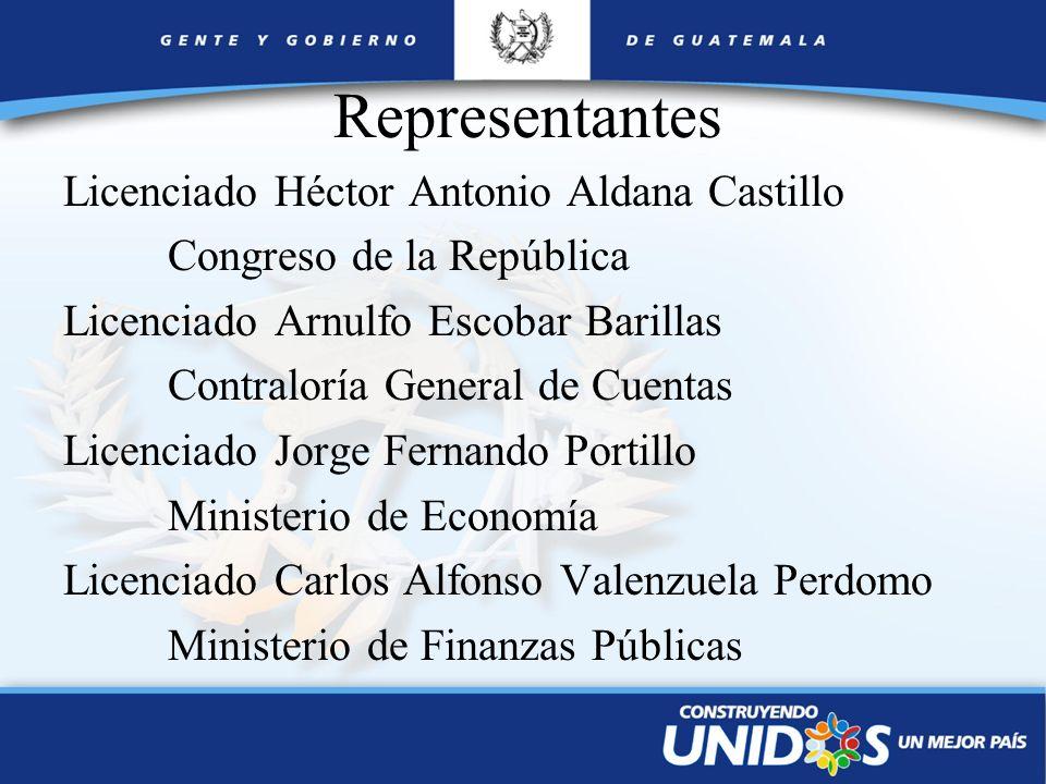 Licenciado Héctor Antonio Aldana Castillo Congreso de la República Licenciado Arnulfo Escobar Barillas Contraloría General de Cuentas Licenciado Jorge