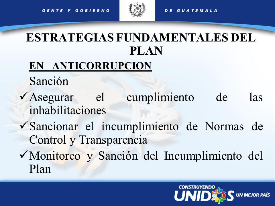 ESTRATEGIAS FUNDAMENTALES DEL PLAN EN ANTICORRUPCION Sanción Asegurar el cumplimiento de las inhabilitaciones Sancionar el incumplimiento de Normas de