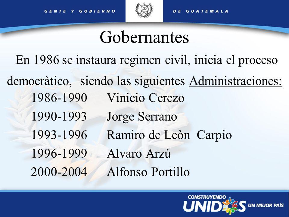 Gobernantes En 1986 se instaura regimen civil, inicia el proceso democràtico, siendo las siguientes Administraciones: 1986-1990 Vinicio Cerezo 1990-19