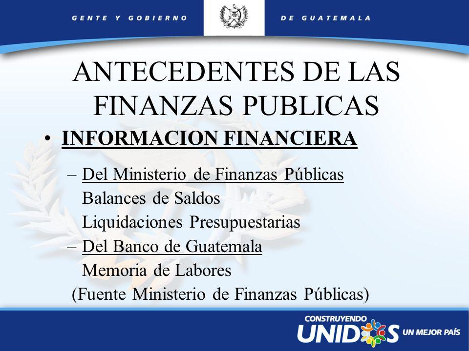 ANTECEDENTES DE LAS FINANZAS PUBLICAS INFORMACION FINANCIERA –Del Ministerio de Finanzas Públicas Balances de Saldos Liquidaciones Presupuestarias –De