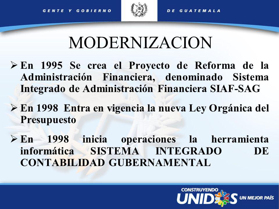MODERNIZACION En 1995 Se crea el Proyecto de Reforma de la Administración Financiera, denominado Sistema Integrado de Administración Financiera SIAF-S