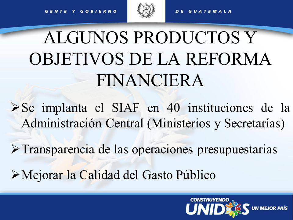 ALGUNOS PRODUCTOS Y OBJETIVOS DE LA REFORMA FINANCIERA Se implanta el SIAF en 40 instituciones de la Administración Central (Ministerios y Secretarías