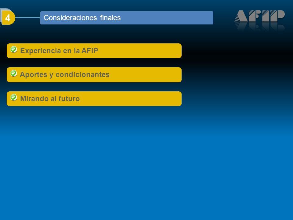 Experiencia en la AFIP Aportes y condicionantes Mirando al futuro 4 Consideraciones finales