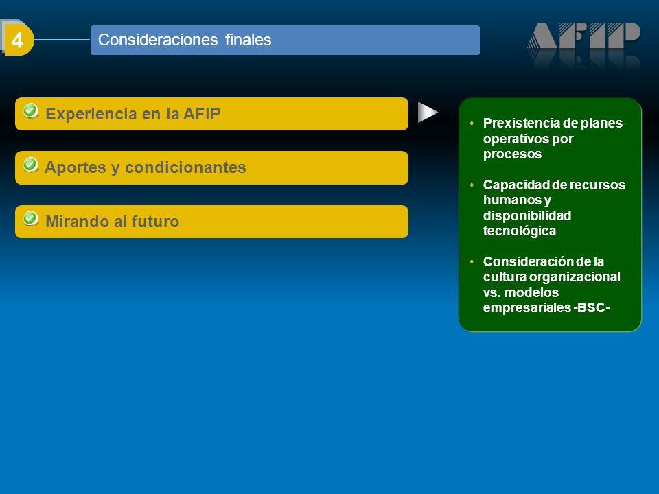 4 Experiencia en la AFIP Aportes y condicionantes Mirando al futuro Prexistencia de planes operativos por procesos Capacidad de recursos humanos y disponibilidad tecnológica Consideración de la cultura organizacional vs.