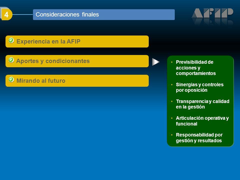 4 Consideraciones finales Experiencia en la AFIP Aportes y condicionantes Mirando al futuro Previsibilidad de acciones y comportamientos Sinergias y controles por oposición Transparencia y calidad en la gestión Articulación operativa y funcional Responsabilidad por gestión y resultados