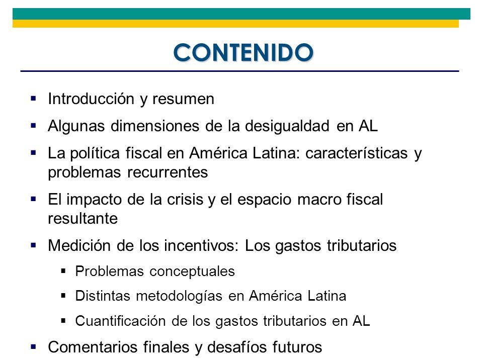 Introducción y resumen Algunas dimensiones de la desigualdad en AL La política fiscal en América Latina: características y problemas recurrentes El im