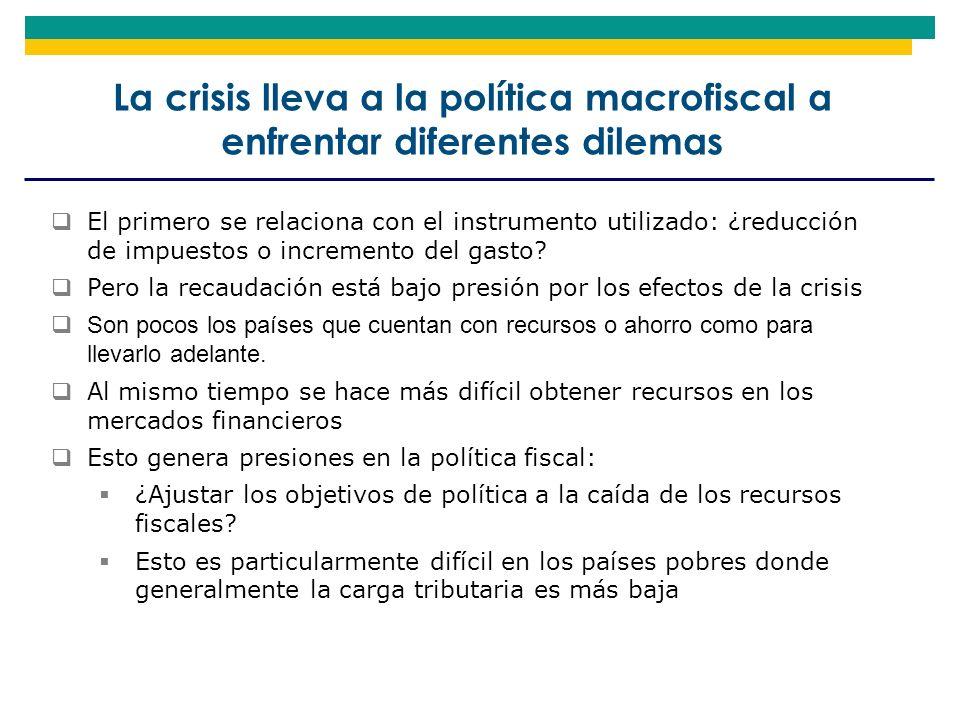 La crisis lleva a la política macrofiscal a enfrentar diferentes dilemas El primero se relaciona con el instrumento utilizado: ¿reducción de impuestos