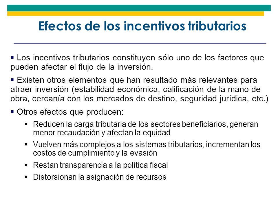 Efectos de los incentivos tributarios Los incentivos tributarios constituyen sólo uno de los factores que pueden afectar el flujo de la inversión. Exi