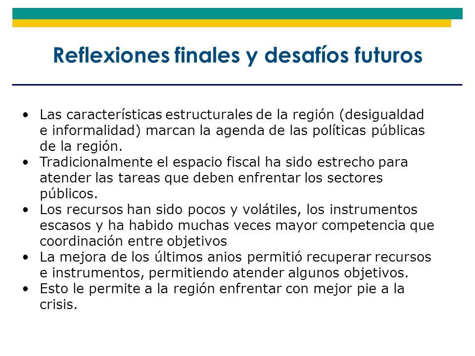 Las características estructurales de la región (desigualdad e informalidad) marcan la agenda de las políticas públicas de la región. Tradicionalmente