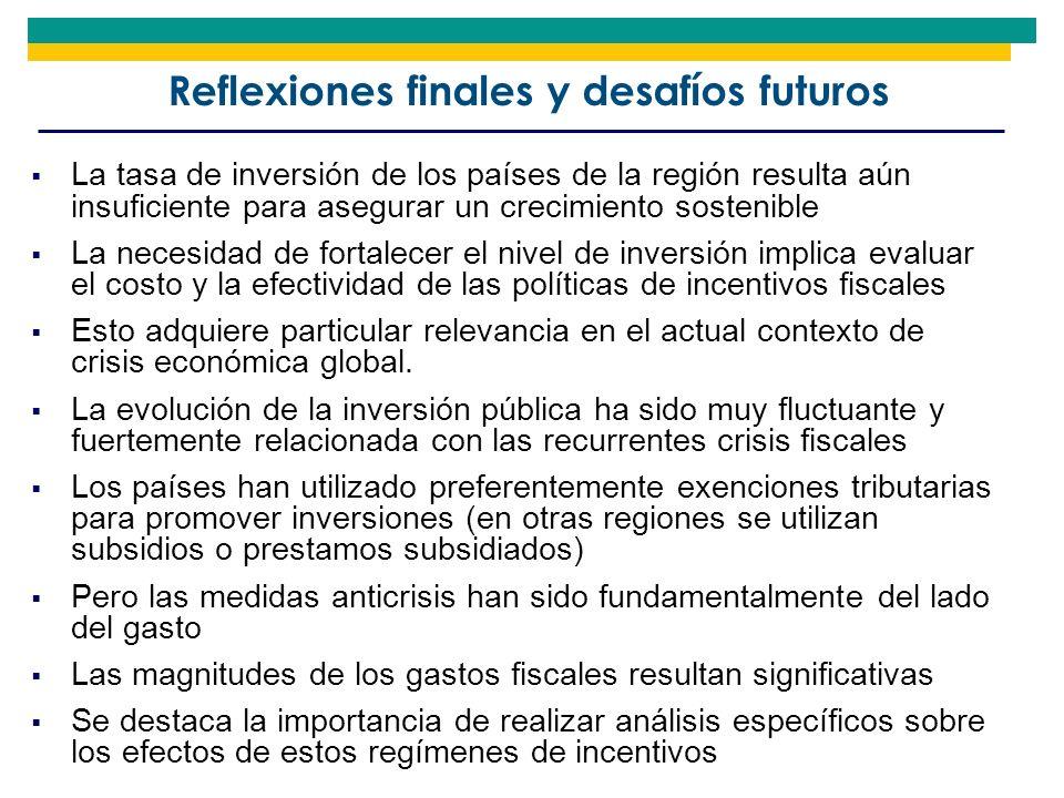 Reflexiones finales y desafíos futuros La tasa de inversión de los países de la región resulta aún insuficiente para asegurar un crecimiento sostenibl