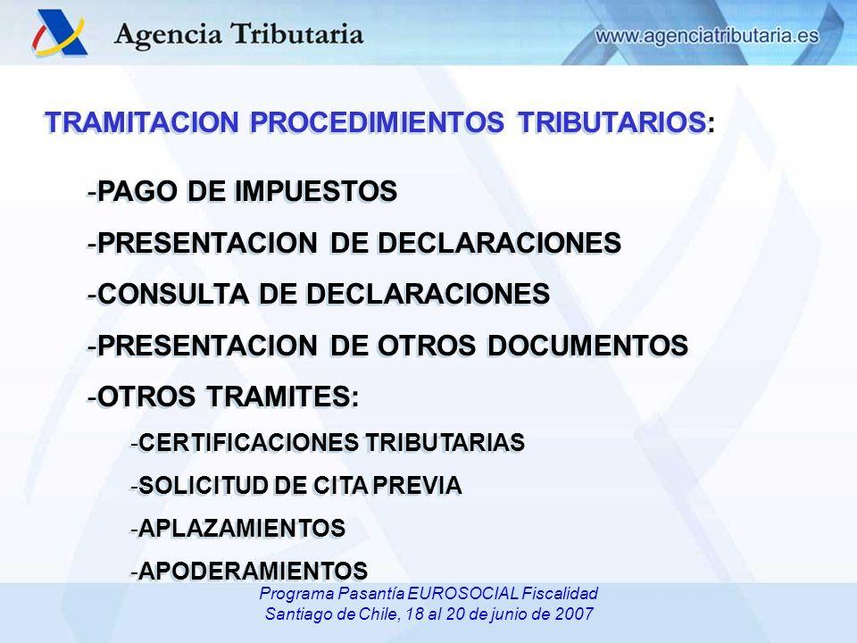 Departamento/ Servicio de …,Delegación Especial /Delegación de…, Administración de... Programa Pasantía EUROSOCIAL Fiscalidad Santiago de Chile, 18 al