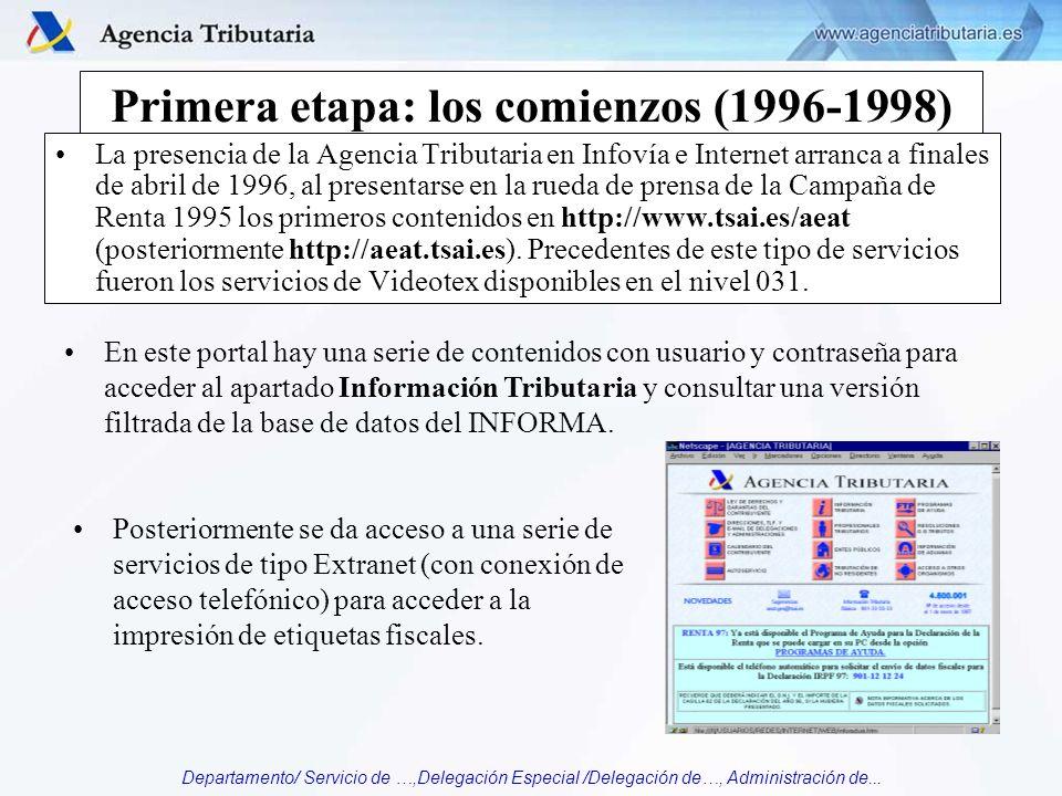 Departamento/ Servicio de …,Delegación Especial /Delegación de…, Administración de... Primera etapa: los comienzos (1996-1998) La presencia de la Agen