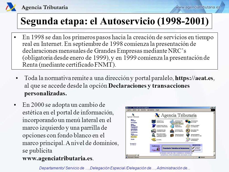 Departamento/ Servicio de …,Delegación Especial /Delegación de…, Administración de... Segunda etapa: el Autoservicio (1998-2001) En 1998 se dan los pr
