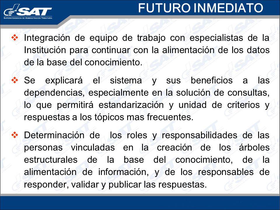 FUTURO INMEDIATO Integración de equipo de trabajo con especialistas de la Institución para continuar con la alimentación de los datos de la base del conocimiento.