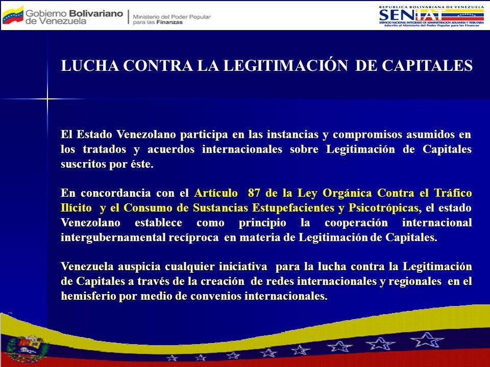 El Estado Venezolano participa en las instancias y compromisos asumidos en los tratados y acuerdos internacionales sobre Legitimación de Capitales sus