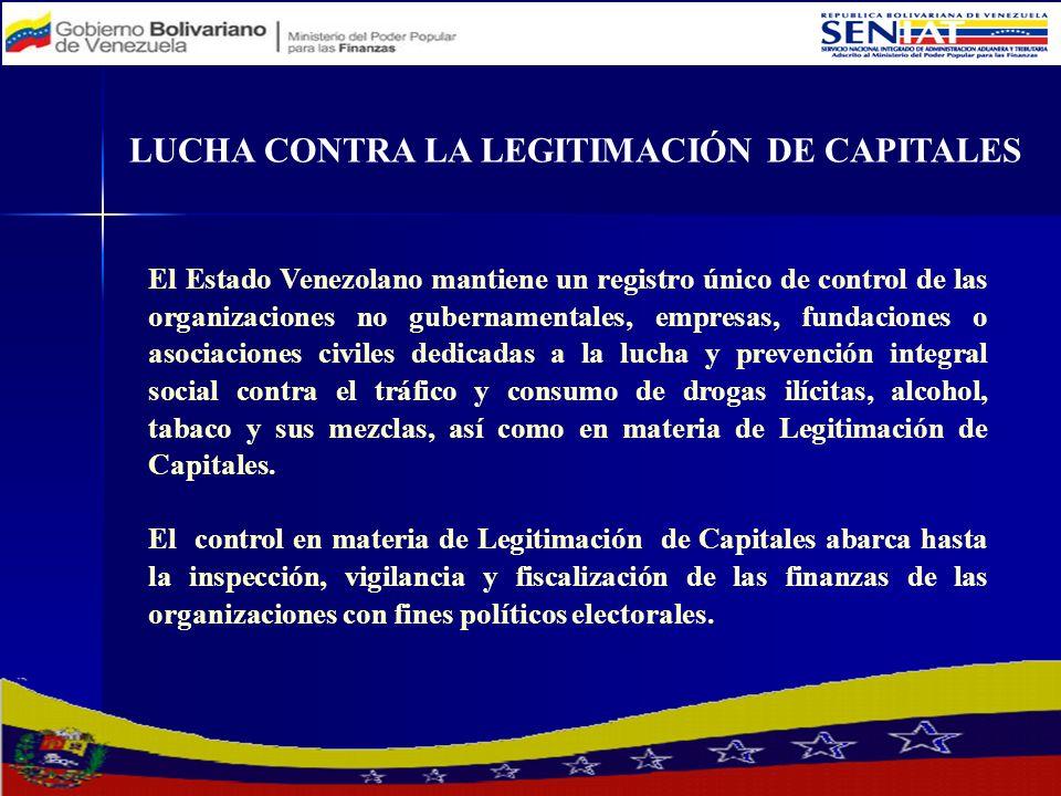 El Estado Venezolano mantiene un registro único de control de las organizaciones no gubernamentales, empresas, fundaciones o asociaciones civiles dedi