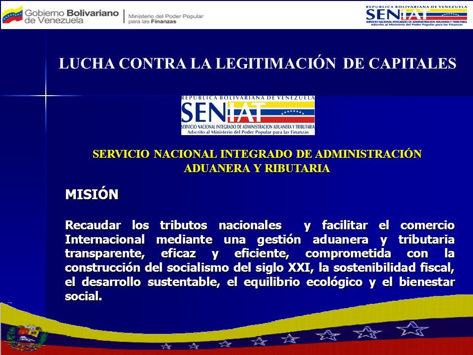 LUCHA CONTRA LA LEGITIMACIÓN DE CAPITALES MISIÓN Recaudar los tributos nacionales y facilitar el comercio Internacional mediante una gestión aduanera