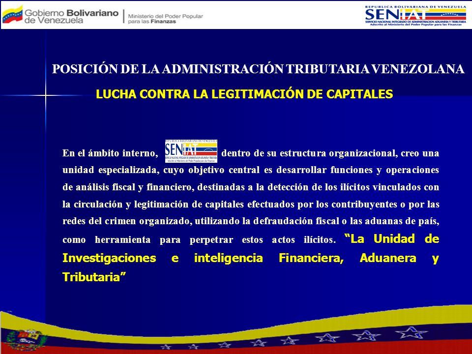 POSICIÓN DE LA ADMINISTRACIÓN TRIBUTARIA VENEZOLANA LUCHA CONTRA LA LEGITIMACIÓN DE CAPITALES En el ámbito interno, dentro de su estructura organizaci