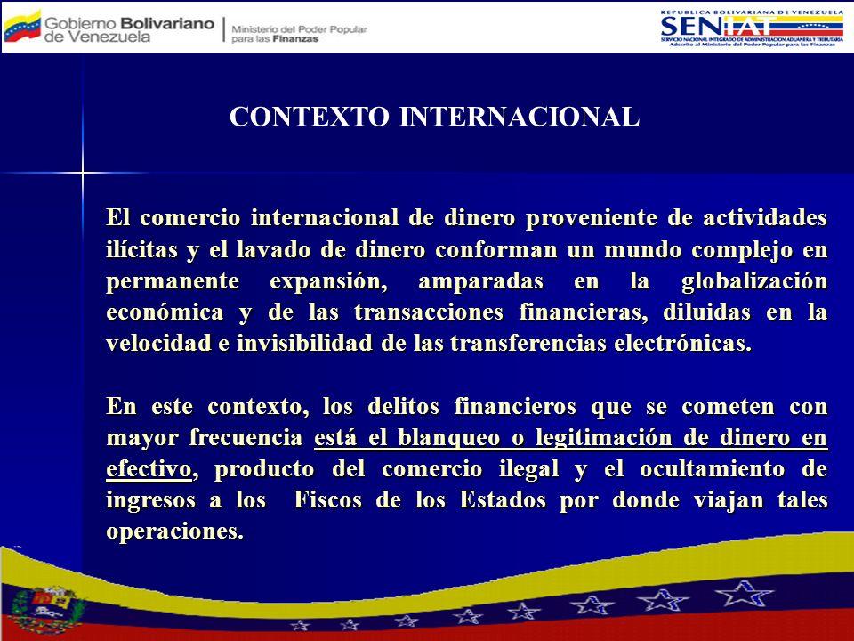 CONTEXTO INTERNACIONAL El comercio internacional de dinero proveniente de actividades ilícitas y el lavado de dinero conforman un mundo complejo en pe