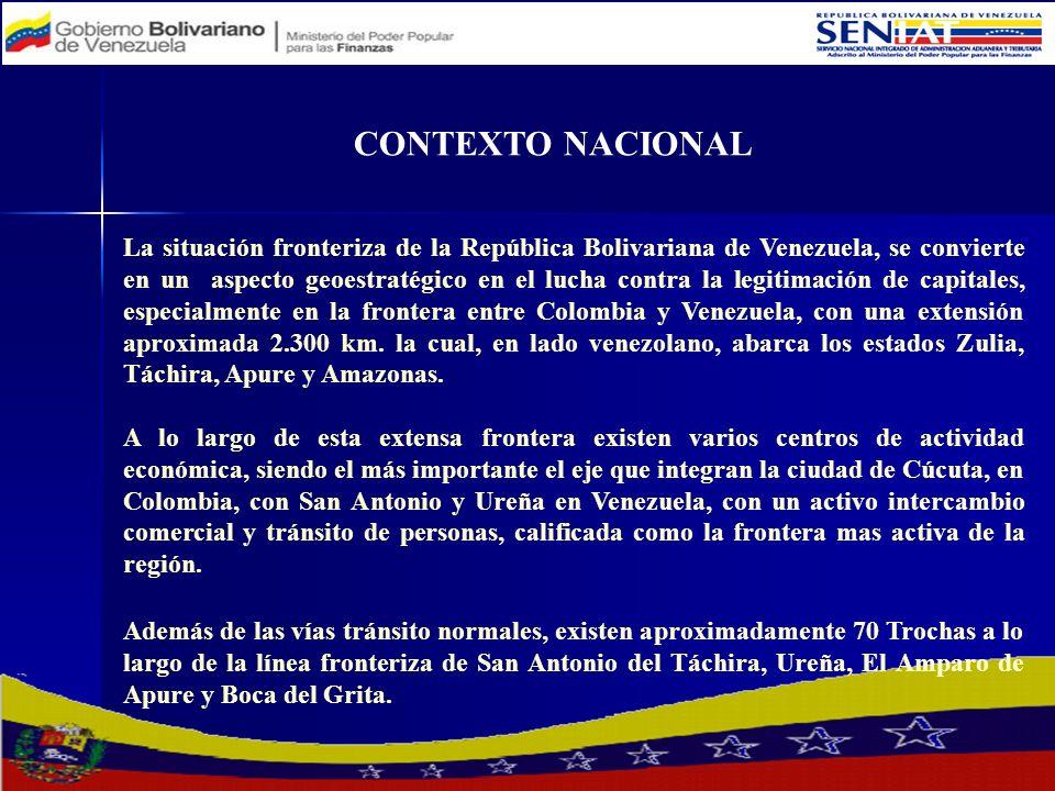CONTEXTO NACIONAL La situación fronteriza venezolana se agrava con la utilización de esta frontera para el tráfico de drogas, provenientes de Colombia, Perú y Bolivia, el contrabando de mercancías, extracción de combustibles y otras actividades ilícitas además de la legitimación de capitales.
