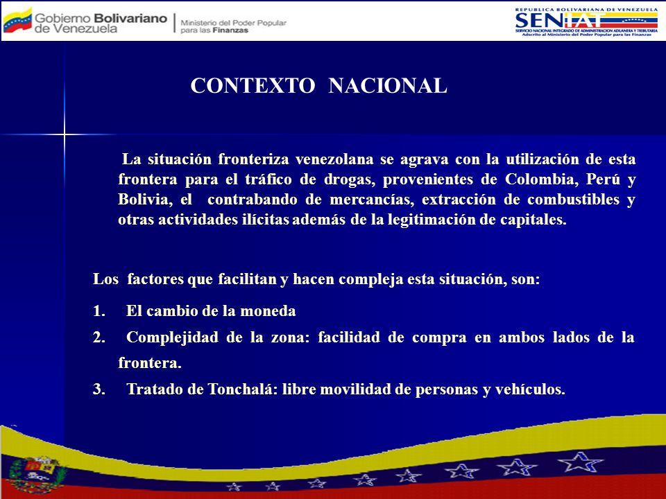 CONTEXTO NACIONAL La situación fronteriza venezolana se agrava con la utilización de esta frontera para el tráfico de drogas, provenientes de Colombia