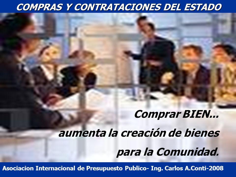 COMPRAS Y CONTRATACIONES DEL ESTADO Comprar BIEN... aumenta la creación de bienes para la Comunidad. Asociacion Internacional de Presupuesto Publico-