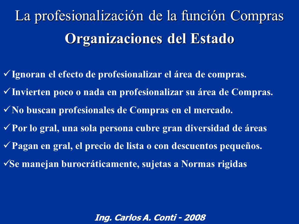 La profesionalización de la función Compras Organizaciones del Estado Ignoran el efecto de profesionalizar el área de compras. Invierten poco o nada e