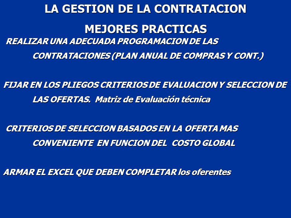 LA GESTION DE LA CONTRATACION MEJORES PRACTICAS REALIZAR UNA ADECUADA PROGRAMACION DE LAS CONTRATACIONES (PLAN ANUAL DE COMPRAS Y CONT.) FIJAR EN LOS