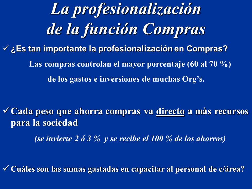 La profesionalización de la función Compras ¿Es tan importante la profesionalización en Compras? ¿Es tan importante la profesionalización en Compras?