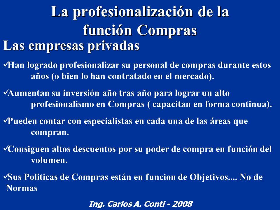 La profesionalización de la función Compras Las empresas privadas Han logrado profesionalizar su personal de compras durante estos años (o bien lo han