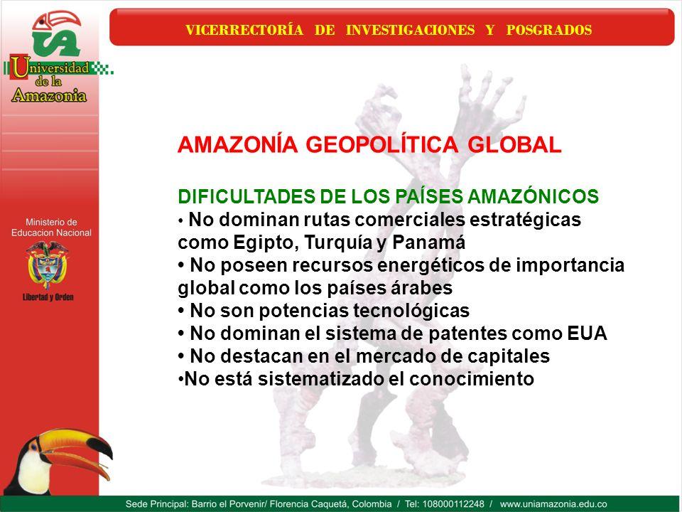 VICERRECTORÍA DE INVESTIGACIONES Y POSGRADOS AMAZONÍA GEOPOLÍTICA GLOBAL DIFICULTADES DE LOS PAÍSES AMAZÓNICOS No dominan rutas comerciales estratégic