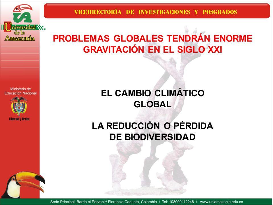 VICERRECTORÍA DE INVESTIGACIONES Y POSGRADOS PROBLEMAS GLOBALES TENDRÁN ENORME GRAVITACIÓN EN EL SIGLO XXI EL CAMBIO CLIMÁTICO GLOBAL LA REDUCCIÓN O P