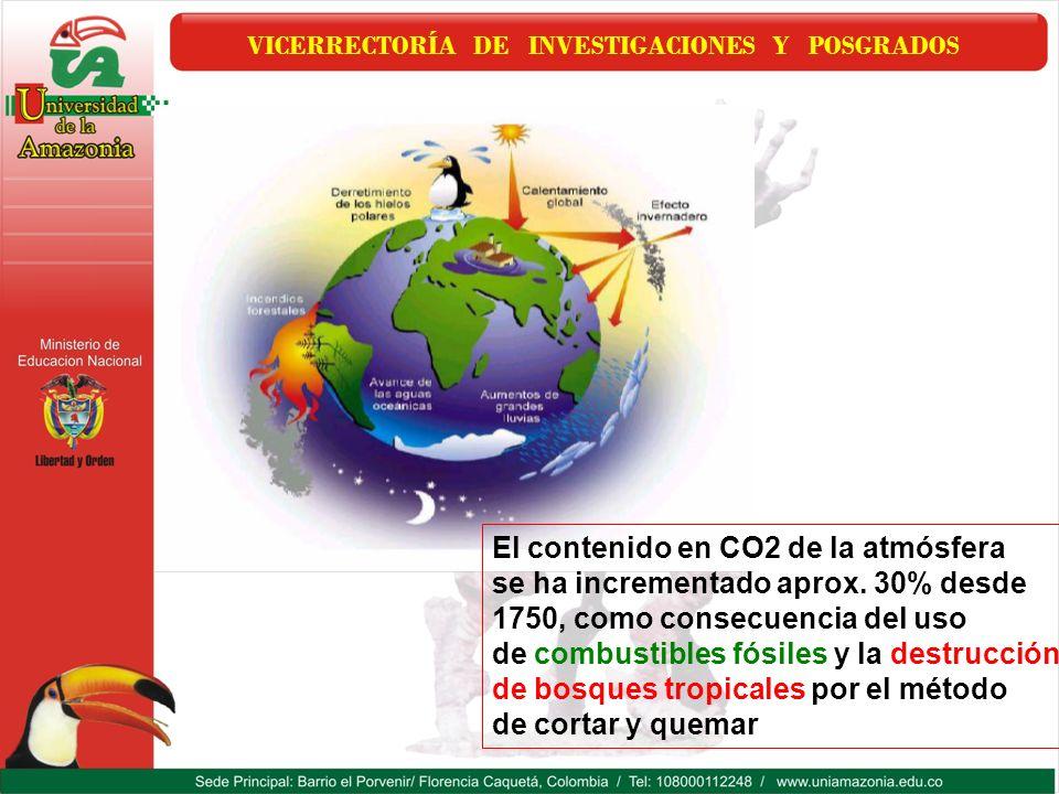 VICERRECTORÍA DE INVESTIGACIONES Y POSGRADOS El contenido en CO2 de la atmósfera se ha incrementado aprox. 30% desde 1750, como consecuencia del uso d