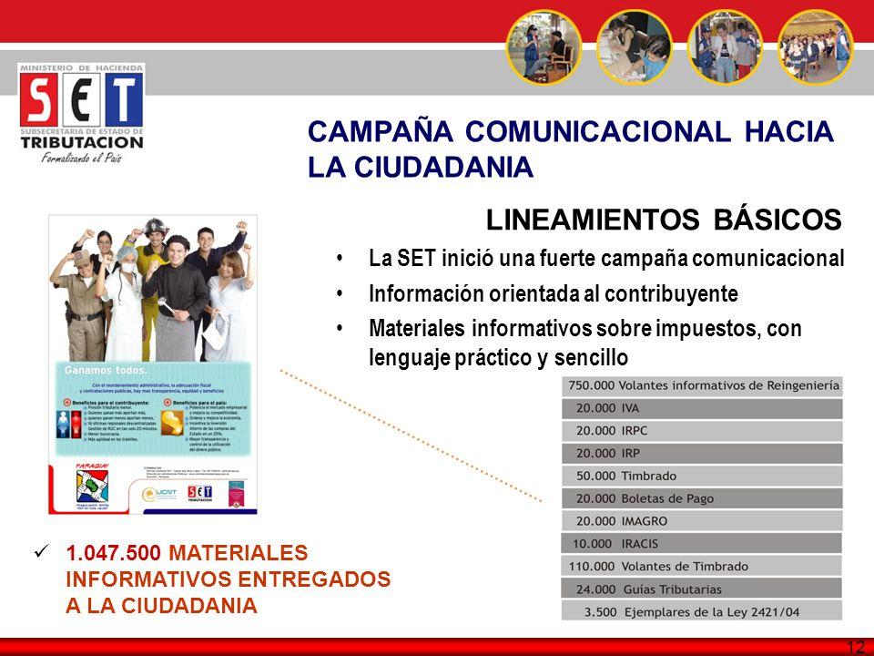 12 CAMPAÑA COMUNICACIONAL HACIA LA CIUDADANIA LINEAMIENTOS BÁSICOS La SET inició una fuerte campaña comunicacional Información orientada al contribuye