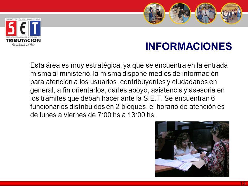 13 INFORMACIONES Esta área es muy estratégica, ya que se encuentra en la entrada misma al ministerio, la misma dispone medios de información para aten
