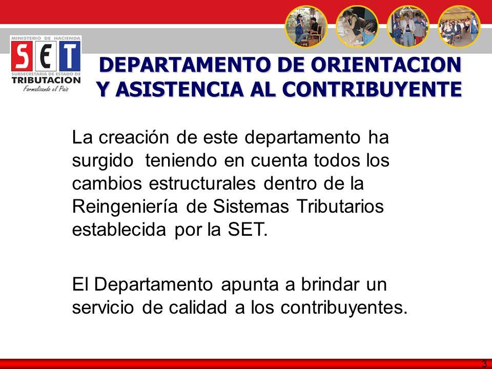 3 DEPARTAMENTO DE ORIENTACION Y ASISTENCIA AL CONTRIBUYENTE La creación de este departamento ha surgido teniendo en cuenta todos los cambios estructur