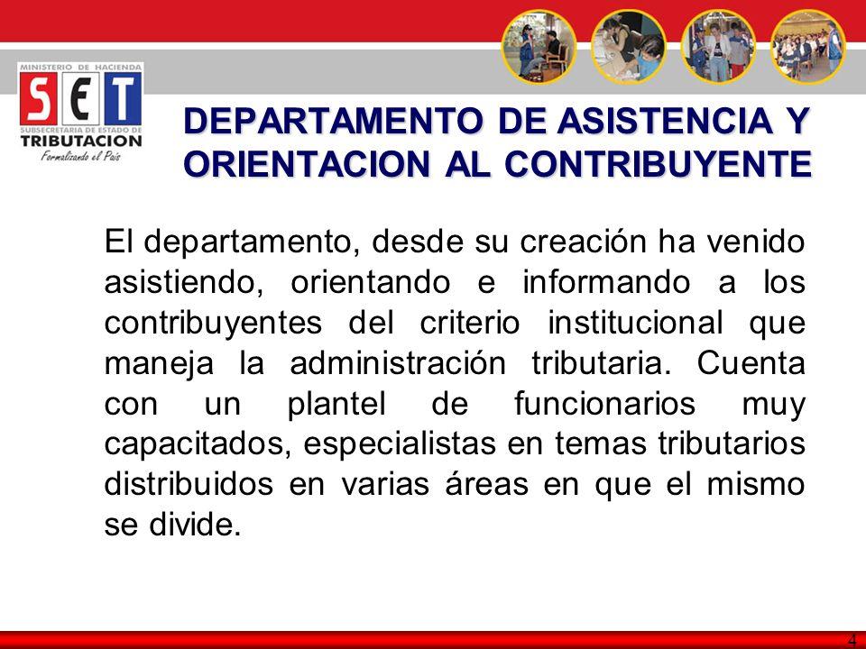 4 El departamento, desde su creación ha venido asistiendo, orientando e informando a los contribuyentes del criterio institucional que maneja la admin